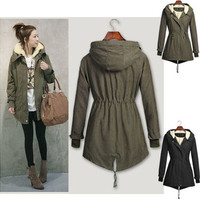New Fashion Women Winter Long Sleeve Hooded Fur Coat Casual Warm Cotton Long Parka Jacket Plus Size [8833911244]