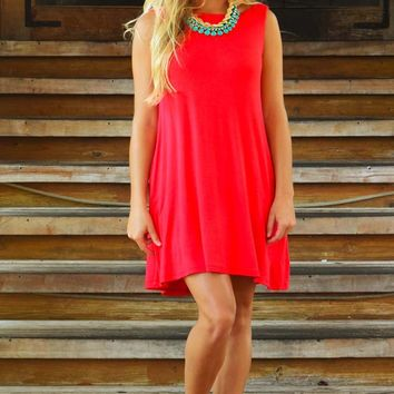 Loving You Is Fun Dress: Hot Coral
