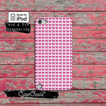 Emoji Inspired White Pink Bow Funny Cute Custom Case iPod Touch 4th Generation or iPod Touch 5th Generation Rubber or Plastic Case