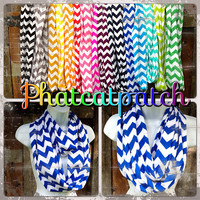 Blue Chevron Infinity Scarf, READY to SHIP, Seattle Seahawks, jersey cotton, cheerleading
