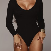 Black Daniella Ribbed Sweater Bodysuit