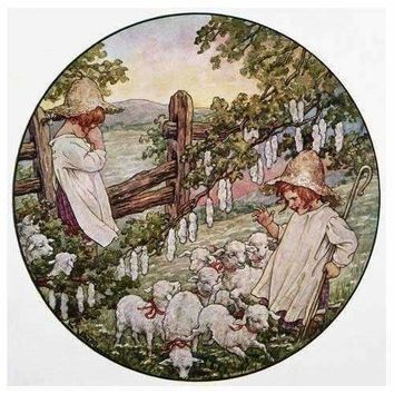 Book Illustration Showing Little Bo Peep With Flock Of Sheep