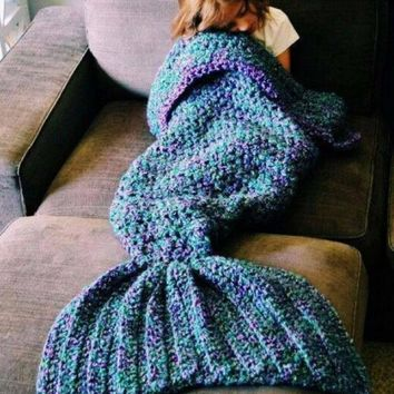 Mermaid blanket air conditioning blanket TV blanket handmade rug rug mermaid tail Christmas Gift