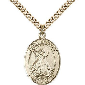 "Saint Bridget Of Sweden Medal For Men - Gold Filled Necklace On 24"" Chain - 3... 617759380941"