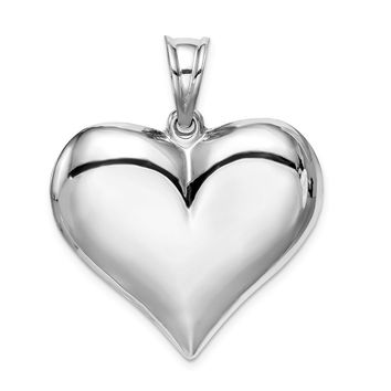 925 Sterling Silver Rhodium Plated Polished Puffed Heart Shaped Pendant
