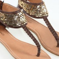 Sequins & Woven Flat Brown Sandals