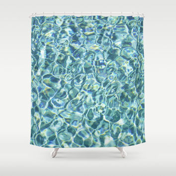 Pool Water - Shower Curtain, Aqua Blue Beach Surf Bath Tub Decor, Nautical Waters Style Hanging Vanity Curtain Backdrop Accent. 71x74 Inches