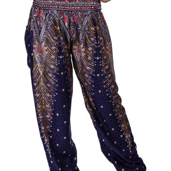 Boho Harem Yoga Pants - Peacock Dark Blue
