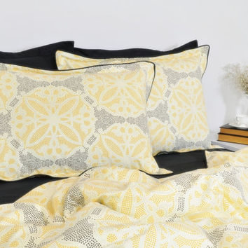 Duvet Cover Set in Moroccan Tile Pattern, Full Queen King Cal King, Black Yellow Silver Cotton Bedding, Geometric Duvet Cover & Pillowcases