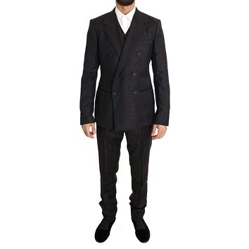 Dolce & Gabbana Brown Wool Double Breasted Slim Fit Suit