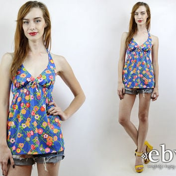Swimsuit Top Hippie Top Floral Halter Top Hippy Top Festival Top Vintage 70s Blue Floral Swimsuit Top XS S Vintage Swimsuit 70s Swimsuit