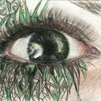 """Eye #15"" ACEO Miniature Drawing Card Original Art Portrait green eyeball woman"