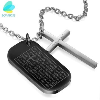 Boniskiss Stainless Steel Cross Pendant & Necklace For Men/Women Bible Dog Tag Chain Religious Christian Jewelry Christmas Gifts
