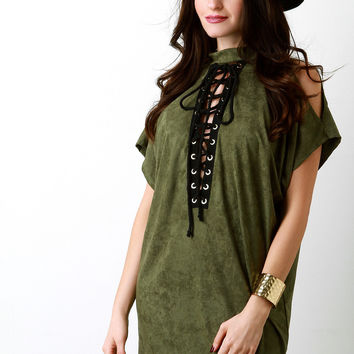 Suede Cold Shoulder Lace-Up Eyelet Trim Tunic Dress in Olive