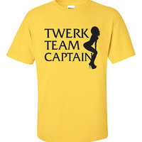 Twerk Team Captain Shirt Printed T-Shirt Tee rump shaker booty T mtv Mens Ladies Womens Youth Kids Funny Twerking Miley Cyrus thicke ML-026