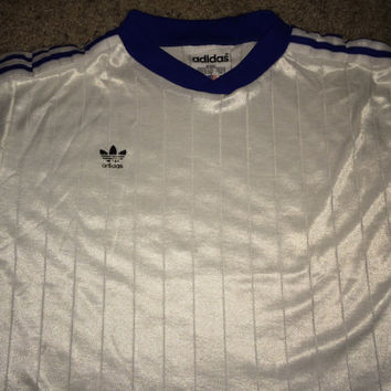 Sale!! Vintage 1980s ADIDAS Polyester white Activewear Shirt Soccer Jersey Football Made in USA