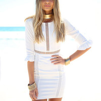 White Lotus Sleeve Pierced Mini Bodycon Dress