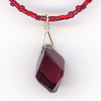 Burgundy Red Crystal Pendant and Beaded Necklace by Lehane on Etsy