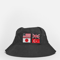 Four-Flag Bucket Hat in Black