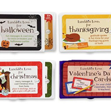 Lunchbox Love Notes for Holidays by Say Please. Kind messages and fun holiday trivia or jokes for Halloween, Thanksgiving, Christmas, & Valentine's Day