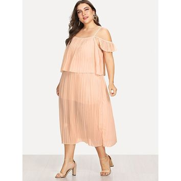 Womens Open Shoulder Pleated Dress - Plus Sizes