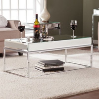 Contemporary Rectangular Coffee Table Living Room Furniture Chrome-Plated New