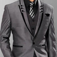 Men Suits Slim Fit Groom  Grey Wedding Suits One Button 3 Piece Suit Jacket+Pants+Vest+Tie+Handkerchief M787