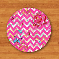 Natural Floral & Butterfly with PINK Chevron Mouse Pad Christmas Gift For Her, Sister ,Aunt, Co-worker Mousepad  Personalized Natural Rubber