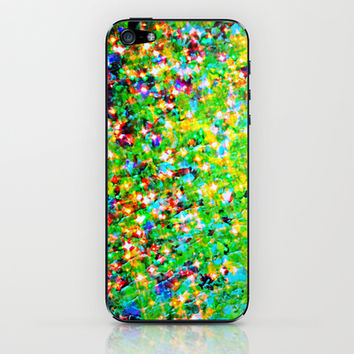 HOLIDAY CHEER - Bold Christmas Festive Green Red Yellow Sparkle Stars Glitter Bling Abstract Art iPhone & iPod Skin by EbiEmporium