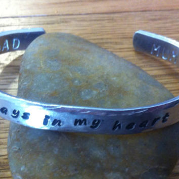Always in my heart cuff personalised with name, names or message on inside or outside. Remembrance jewellery, sympathy gift, memorial cuff