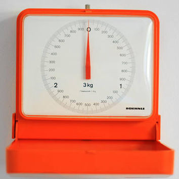 Vintage SOEHNLE kitchen wall scale / Orange Plastic Hanging Balance / Weighing weighting machine / Made in Germany 70s 80s