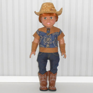 18 inch Doll Clothes Cowboy Halloween Costume with Navy Shirt & Jeans and Cowboy Hat Optional Brown Cowboy Boots