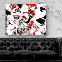 Abstract art I Black White Red I 8x10 16x20 20x30 I  Wall Art - Home Decor - Picture - Print - Poster Large wall art Large abstract wall art