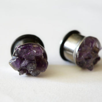 amethyst plugs  amethyst gauges amethyst earplugs natural stone ear plugs stone ear tunnels gemstone plugs raw Stone plugs tunnels unusual