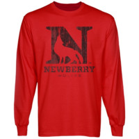 Newberry College Wolves Distressed Primary Long Sleeve T-Shirt - Red