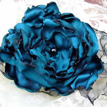 Teal Blue Flower Hair Clip Bridal Women Toddler by OurPlaceToNest