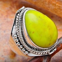 Gaspeite Sterling Silver Ring | KejaJewelry - Jewelry on ArtFire