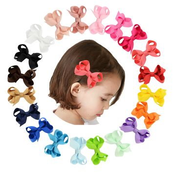 "20 Pcs/Lot Grosgrain 2.4"" Hair Bow with Alligator Covered Clips for Baby Girl Toddlers Kids Infant Children Handmade Barrettes Hair Accessories"