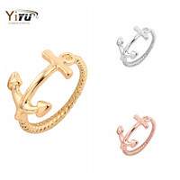 Women Fashion Jewelry Gold Plated Cute Anchor Couple Rings