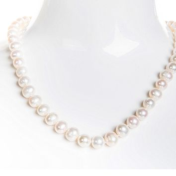 Single Strand White Freshwater Pearl Necklace 8mm