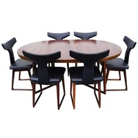 Rosewood Dining Table and Six Chairs by Arne Vodder