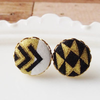 Aztec fabric button earrings, black and gold studs