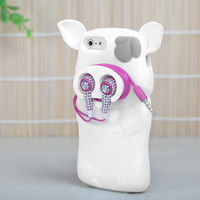 Apple iPhone 5 5S Rubber SILICONE Soft Gel Skin Case Phone Cover White Pig Nose