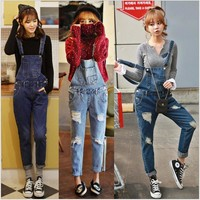 Women Ripped Denim Jumpsuits Casual Sexy Stretch Romper Hole Denim Pencil Overalls Stretch Slim Dungarees For 4 season