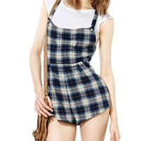Plaid Sleeveless Jumpsuits With Pockets
