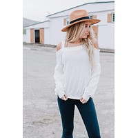Nicole Cold Shoulder Waffle Knit Top - White
