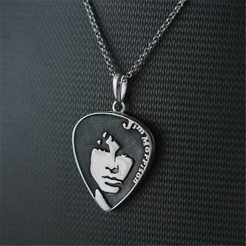 "Portrait Of Music Genius Jim Morrison Of ""The Doors"" Band Punk Rock Handmade Locket Necklace Pendant Genuine 925 Sterling Silver"