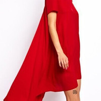 Red Short Sleeve Asymmetric Dress