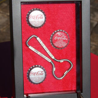 Coca Cola Advertising Shadow Box Soda Bottle Opener Bottle Caps Wall Hanging