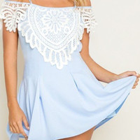 Light Blue Off Shoulder Crochet Lace Mini Dress